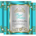 fairytale sweet 16 16th birthday turquoise teal 2 invitation