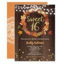fall sweet sixteen 16 birthday rustic wood wreath invitation