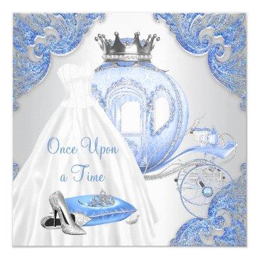 Small Fancy Cinderella Princess Birthday Party Invitations Front View