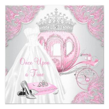 Small Fancy Pink Cinderella Princess Birthday Party Invitations Front View