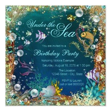 fancy under the sea birthday party invitations