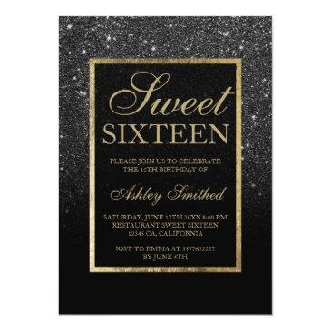 Small Faux Black Glitter Gold Elegant Chic Sweet 16 Invitations Front View