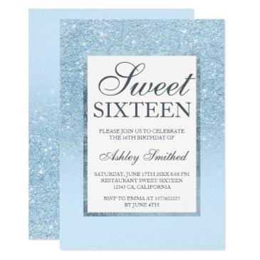 faux blue glitter elegant chic sweet 16 invitations