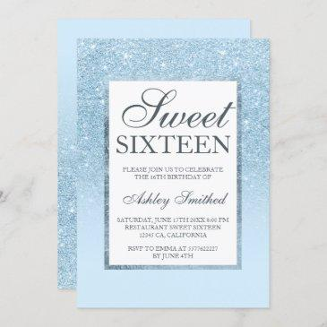 faux blue glitter elegant chic sweet 16 invitation