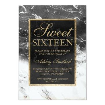 Small Faux Gold Black White Marble Color Block Sweet 16 Invitations Front View