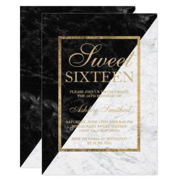 faux gold chic black white marble block sweet 16 invitation