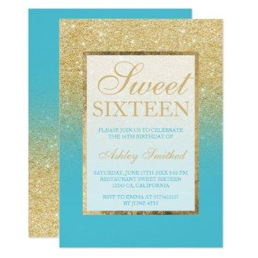 faux gold glitter ombre peacock blue sweet 16 invitation
