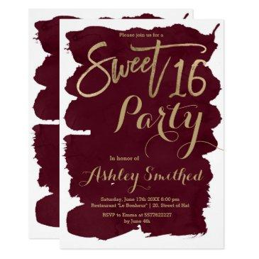 faux gold typography burgundy watercolor sweet 16 invitations