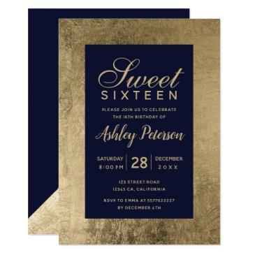 faux gold typography navy blue simple sweet 16 invitation
