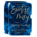 faux gold typography navy blue watercolor sweet 16 invitation