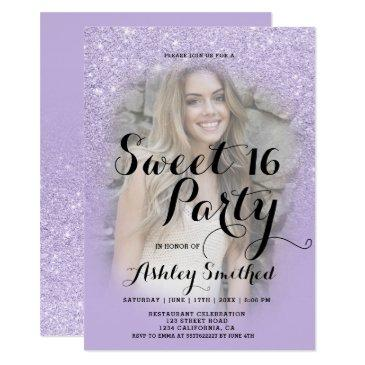 faux purple lavender glitter ombre photo sweet 16 invitations