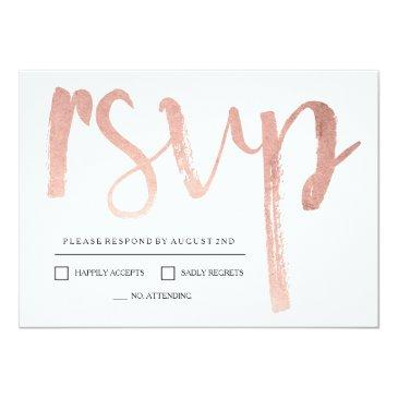 Small Faux Rose Gold Foil Rsvp Invitations Front View
