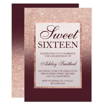 faux rose gold glitter burgundy chic sweet 16
