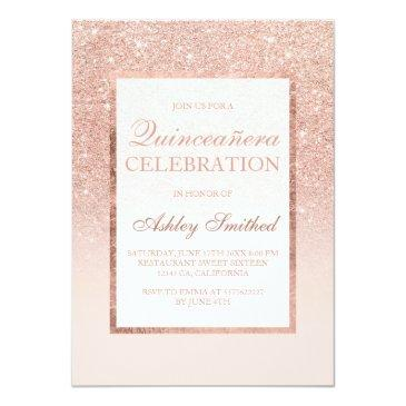 Small Faux Rose Gold Glitter Elegant Chic Quinceañera Invitations Front View