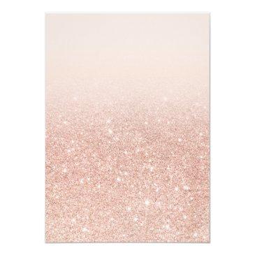Small Faux Rose Gold Glitter Elegant Chic Quinceañera Invitations Back View