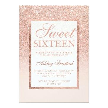 Small Faux Rose Gold Glitter Elegant Chic Sweet 16 Invitations Front View