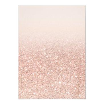 Small Faux Rose Gold Glitter Elegant Chic Sweet 16 Invitations Back View