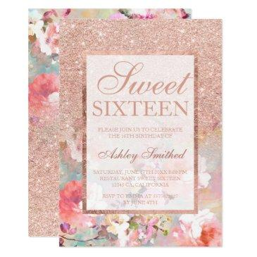faux rose gold glitter floral watercolor sweet 16 invitation