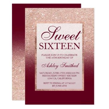 faux rose gold glitter ombre burgundy sweet 16