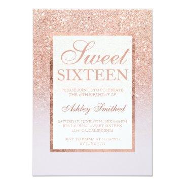 Small Faux Rose Gold Glitter Ombre Lilac Chic Sweet 16 Invitations Front View