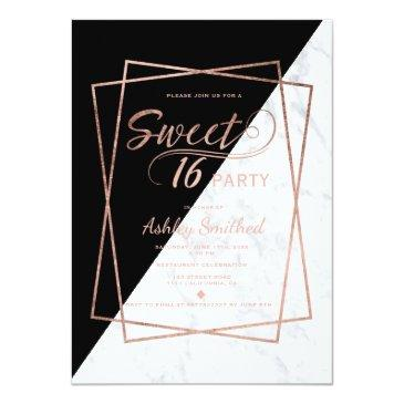 Small Faux Rose Gold Marble Script Geometric Sweet 16 Front View