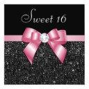 faux sequins diamonds bow black pink sweet 16 invitation