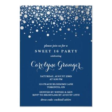 faux silver foil confetti | navy sweet sixteen invitation
