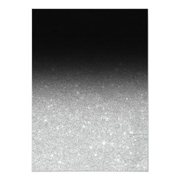 Small Faux Silver Glitter Black Elegant Chic Sweet 16 Invitations Back View