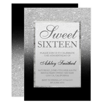 faux silver glitter black elegant chic sweet 16 invitations