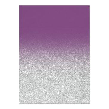Small Faux Silver Glitter Elegant Purple Sweet 16 Invitation Back View