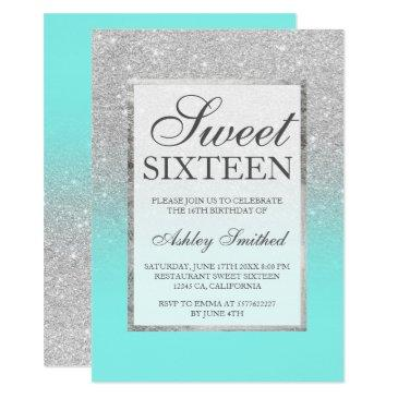 faux silver glitter elegant teal sweet 16 invitation