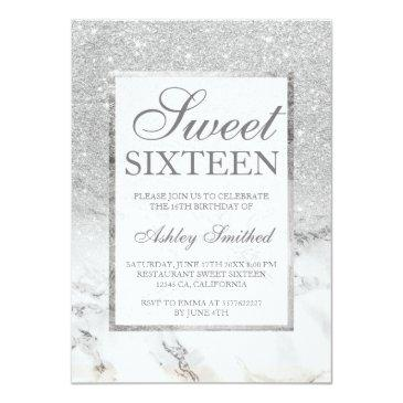Small Faux Silver Glitter Marble Elegant Chic Sweet 16 Invitations Front View
