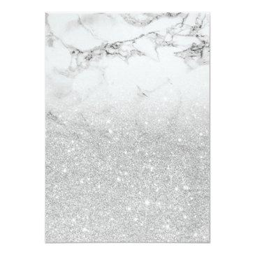 Small Faux Silver Glitter Marble Elegant Chic Sweet 16 Invitations Back View