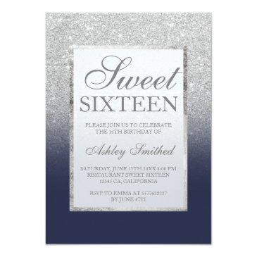 Small Faux Silver Glitter Navy Blue Legant Chic Sweet 16 Invitation Front View