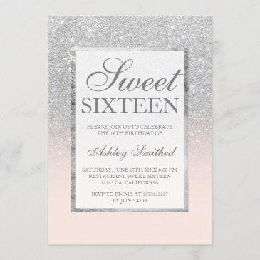 faux silver glitter pink elegant chic sweet 16 invitation