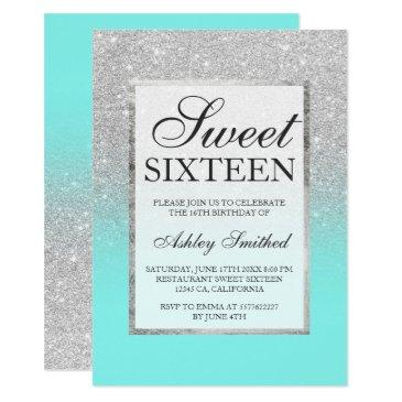 faux silver glitter teal chic sweet 16 invitation