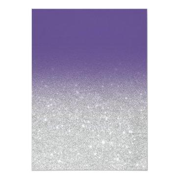 Small Faux Silver Glitter Violet Elegant Chic Sweet 16 Invitations Back View