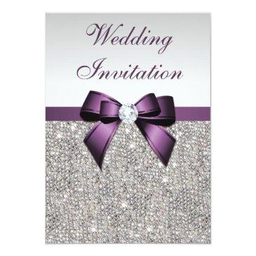Small Faux Silver Sequins Diamonds Purple Bow Wedding Invitations Front View