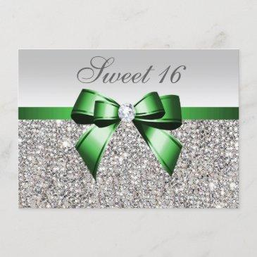 faux silver sequins emerald bow diamond sweet 16 invitation