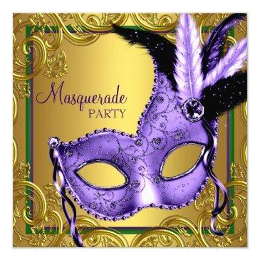 feather mask purple and gold masquerade party invitations