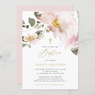 feminine watercolor blush flowers girl baptism invitation