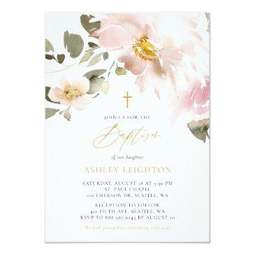 Small Feminine Watercolor Blush Flowers Girl Baptism Invitation Front View