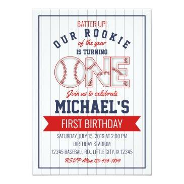 Small First Baseball Birthday Invitation Front View