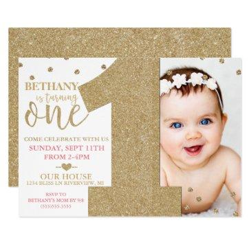 first birthday faux gold glitter & pink