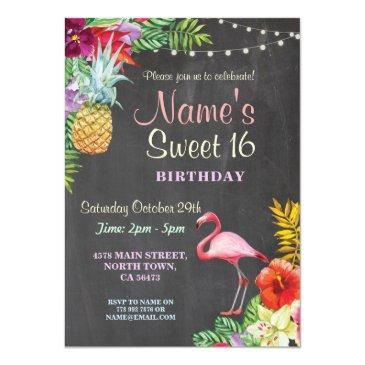 flamingo aloha sweet 16 16th birthday party invite