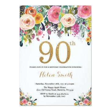 Small Floral 90th Birthday Invitation Gold Glitter Front View