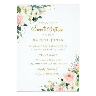 Small Floral Blush Pink Gold Sweet Sixteen Invitation Front View