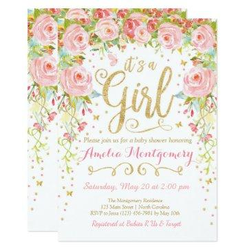 floral butterfly girl baby shower