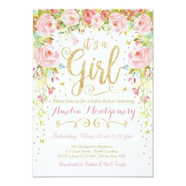 Small Floral Butterfly Girl Baby Shower Invitations Front View