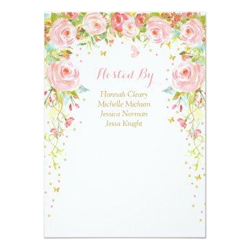 Small Floral Butterfly Girl Baby Shower Invitations Back View